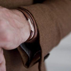 Bracelet, cuir et argent