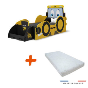 Pack Lit JCB à clipser modèle tracteur jaune