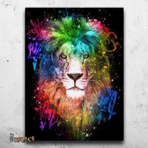 Tableau Lion graff art