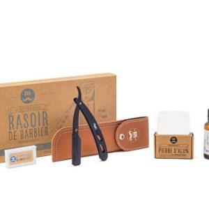 Rasoir de barbier + Huile de rasage + Pierre d'alun