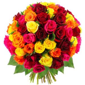 Bouquet de 70 roses multicolores.